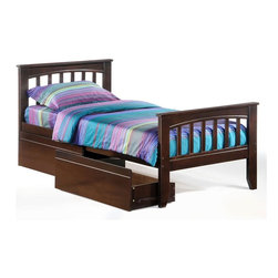 Night & Day Furniture - Sasparilla Twin Bed in Chocolate w Storage Dr - Bed includes head/foot, rails, slats, storage drawer. 100% Malaysian Rubberwood construction. Warranty: 5 years. Chocolate finish. 57 in. W x 80.6 in. D x 37.4 in. H (33.5 lbs.)Well, that's a pretty cool old-fashioned word for a pretty cool old-fashioned soft drink. Anyway we thought we had a pretty cool old-fashioned bed that needed a pretty cool old-fashioned name and Sasparilla seemed just right.Take care of your kids' needs for beds, bunks and storage with our Zest Bedroom Collection for Night and Day. Smart quality at extraordinary value. We have gone to great lengths to design and engineer this complete line to keep your cost down and your pleasure up.