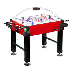 """Carrom - Bubble Dome Stick Hockey Table - Adding a gaming table to any room helps to improve its appeal, but adding this particular dome and stick air hockey table is especially so.  Kids of all ages love to play this invigorating and challenging game, while the dome helps to keep any pieces from getting lost or broken, making it a sound investment for fun!  A red and black design gives this impressive stick hockey set a life and style all its own as you deck it out over the length of the table.  It's supported by four sturdy vinyl legs, which are set on chrome leg supports for full durability.  The dome above the players is thick and shatter-resistant, with a built-in electronic score-keeper that flashes with light and sound at every score! * Heavy miterfold black vinyl legs. Chrome plated leg levelers for easy and accurate leveling. Heavy 2 inch triple chrome plated leg supports. Thick shatter resistant dome manufactured from petg. Heavy gauge cabinet materials and melamine surface for durability. All corners covered with protective caps and slide-on cup holders. Battery operated scoring unit tracks periods and celebrates each goal scored with light and sound. Full perimeter extra thick edge banding on cabinet protects the cabinet. Rods are solid fiberglass and are factory assembled to the gear mechanism. Play surface is thick styrene with custom coated graphics for faster passing and shooting. Play surface is supported from end to end to ensure quality level play. Scoring unit may be reset at any time and will shut down after 2-3 minutes of non-use. Gears are precision injection molded for longer wear and include an internal slip clutch to prevent binding and shearing. Game includes two pucks and two sets of players - one paintable and one hand-painted. Game comes fully assembled except for legs, electronic scoring unit and cup holdersDimensions:45 1/4"""" Length, 33 3/4"""" Width, 58"""" Width with longest rod protruding, 51"""" Height"""