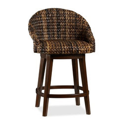 Sea Grass Bucket Swivel Bar Stool, Havana Dark - I'm really digging the texture on these sea grass swivel bar stools. The rounded chair back is a fun quirk too.