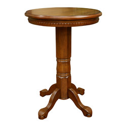 American Heritage - American Heritage Cicero Round Pub Table in Vintage Oak - The Cicero pub table can make any small space feel warm and inviting. A radiant vintage oak finish enhances architectural elements such as the dentil molding surrounding the table top and the fluted column base. The ball and claw feet add to its classic style and timeless appeal.