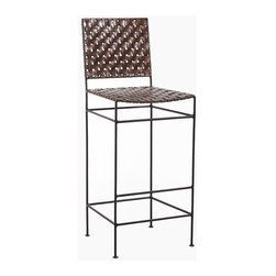 """William Sheppee - Saddler 30"""" Iron and Woven Leather Bar Stool - The Saddler Iron and Woven Leather Barstool has a rustic chic feel. Hand stained genuine leather with hand forged steel with a black finish will complete any bar or pub table. Features: -Bar stool. -Saddler collection. -Frame finisHeight: Black. -Constructed of genuine woven leather on iron frame. -Handcrafted. -Dry dust or use leather wipe for cleaning. -Seat Height: 30"""". -Dimensions: 45"""" H x 17"""" W x 16"""" D."""