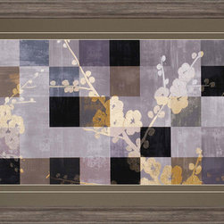 Paragon Decor - Blossom Panel II Artwork - Blossoms overlay a muted patchwork background.  Matted in timber and framed in rustic molding.