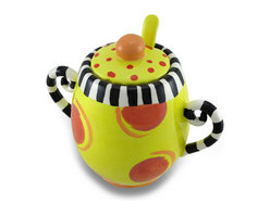 Zeckos - Erich Emmenegger Yellow Jester Circles and Stripes Sugar Bowl w/ Lid & Spoon Set - With Erich Emmenegger's art proudly standing out, he creates a unique vision with bright and wild color schemes sure to bring a bit of fun to your morning coffee routine, afternoon tea or anytime your beverage requires a little sugar This bright and cheerful ceramic sugar bowl set measures 4.5 inches tall, 3 inches diameter (11x8 cm), 3.75 inches tall without the lid and spoon, and 5.25 inches wide including the handles (10x13 cm). Made from ceramic, it's hand-painted and glazed in yellow with orange circles and black and white stripes It's a must-have piece for collectors, and makes a wonderful gift for a wild and crazy friend