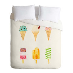 DENY Designs - DENY Designs Laura Redburn Ice Cream Selection Duvet Cover - Lightweight - Turn your basic, boring down comforter into the super stylish focal point of your bedroom. Our Lightweight Duvet is made from an ultra soft, lightweight woven polyester, ivory-colored top with a 100% polyester, ivory-colored bottom. They include a hidden zipper with interior corner ties to secure your comforter. It is comfy, fade-resistant, machine washable and custom printed for each and every customer. If you're looking for a heavier duvet option, be sure to check out our Luxe Duvets!