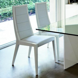 Rossetto Furniture - Sapphire White Dining Chairs - Set of 2 - 348105000DCHS - Glossy white lacquer finish
