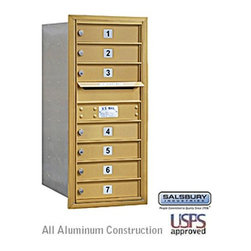 Salsbury Industries - 4C Horizontal Mailbox - 9 Door High Unit - Single Column - 7 MB1 Doors - Gold - 4C Horizontal Mailbox - 9 Door High Unit (34 Inches) - Single Column - 7 MB1 Doors - Gold - Rear Loading - USPS Access