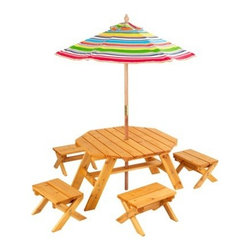 KidKraft Octagon Table with Stools and Striped Umbrella - With its own shade, bench seats and a table, this set is great for eating snacks, having conversations and doing art projects.