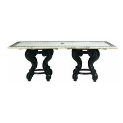 Lexington - Tommy Bahama Kingstown Sedona Double Pedestal Base For 84 x 44 - The double pedestal base provides strength and ample support for the 84 x 44 inch dining table tops of cast, stone, or weather stone. The center has a Tommy Bahama medallion which can be easily removed with using an umbrella for shade.