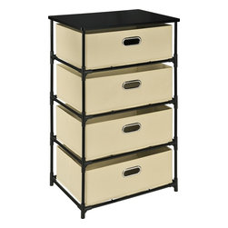 Altra Furniture - 4-Drawer Bin Storage Unit - 4 fabric bins store personal items. Chrome grommet handle pulls. Hard table top shelf. Easy to assemble. 18.5 in. L x 13.39 in. W x 30.71 in. H (11 lbs)Stay organized with the Altra 4 Drawer Storage End Table in Black with Natural colored bins. You'll have this unit set up in minutes with its easy-to-assemble construction, with no tools. The collapsible, canvas bins with sturdy metal structure provide a storage solution for many areas of the house.