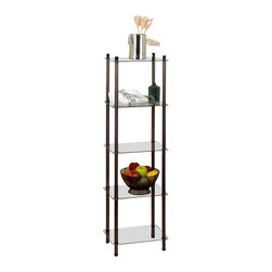 CreativeWare Home - 5 Shelf Oil Rubbed Bronze Tower L'Etagere - 16 in. W x 54 in. H x 12 in. D. 5 Tempered glass shelves. Rich Oil rubbed bronze plated finish. No tools required for assembly. Sturdy Tublar steel construction