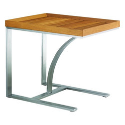 Lexington - Tommy Bahama Tres Chic Occasional Table - Horizonal teak slats form the top of this contemporary occasional table, while its base is comprised of sleek stainless steel creating an original, streamlined look.