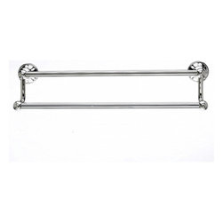 "Top Knobs - Hudson Bath 18"" Double Towel Rod - Polished Nickel - Length - 20 1/4"",Projection - 6 1/8"",Center to Center - 18"",Bar Stock Diameter - 5/8"",Base Diameter - 2 1/4"" w (x) 2 1/4"" h,"