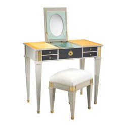 French Heritage - Aubin Vanity and Stool, Sunbleached Cherry &Amp;amp; Smoke - Pretty without being frilly, this vanity boasts a fold-up mirror and generous storage, all smoothly concealed behind richly finished hardware.  -Flip up mirror -Two drawers -Two flip up storage compartments -Weight: 110lbs