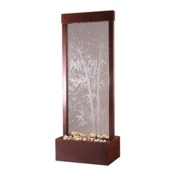 """Bluworld - 4' Gardenfall Fountain - Dark Copper & Bamboo-Etched Glass - The 48"""" tall Dark Copper Bamboo Gardenfall offers a hint of Asian ambiance to calm any room. The expertly crafted aluminum frame holds a beautiful sheet of tempered glass with an etched bamboo design. The peaceful sound of falling water will relax you and your guests as the smooth sheet of water cascades gently down past smooth polished river rocks. The all metal frame is powder coated with a durable Dark Copper finish suitable for use indoor and out.The 4' Bamboo Gardenfall water fountain is large enough to be a focal point in any space yet small enough to avoid being overbearing or taking up too much floor space. This water feature adds serenity and elegance to any space.Installing this beauty won't raise your stress level either. It can be installed easily with no special tools in no time, so there won't be much of a wait from the time it's delivered to your door until the time you are relaxing beside it and appreciating its modern yet timeless charm. Bring the 4' Dark Copper Bamboo Gardenfall into your life and enjoy its peaceful rewards.This fountain ships with an adjustable pump and polished river rocks."""
