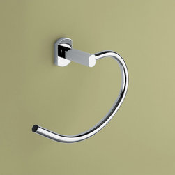 Gedy - Polished Chrome Curved Towel Ring - Contemporary towel ring made of chromed brass. Wall mounted towel ring made in brass with chrome finish. From the Gedy Edera collection.