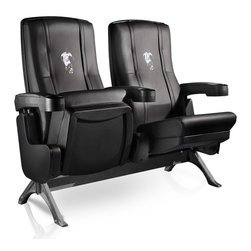 Dreamseat Inc. - Soccer Forward Row One VIP Theater Seat - Quad - Please note: This item is the 4-seat version. We apologize that we do not have photos of 4 together. Check out these fantastic home theater chairs. These are the same seats that are in the owner's VIP luxury boxes at the big stadiums. It has a rocker back and padded seat, so it's unbelievably comfortable - once you're in it, you won't want to get up. Features a zip-in-zip-out logo panel embroidered with 70,000 stitches. Converts from a solid color to custom-logo furniture in seconds - perfect for a shared or multi-purpose room. Root for several teams? Simply swap the panels out when the seasons change. This is a true statement piece that is perfect for your Man Cave, Game Room, basement or garage.