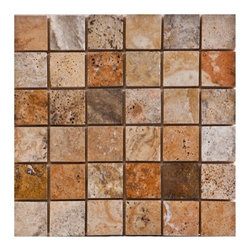 """Scabos Honed Mesh-Mounted Travertine Mosaic Tiles 2"""" x 2"""" - 2"""" x 2"""" Scabos Mesh-Mounted Travertine Mosaic Tile is a great way to enhance your decor with a traditional aesthetic touch. This Honed Mosaic Tile is constructed from durable, impervious Travertine material, comes in a smooth, unglazed finish and is suitable for installation on floors, walls and countertops in commercial and residential spaces such as bathrooms and kitchens."""