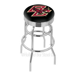 """Holland Bar Stool - Holland Bar Stool L7C3C - Chrome Double Ring Boston College Swivel Bar Stool - L7C3C - Chrome Double Ring Boston College Swivel Bar Stool w/ 2.5 Inch Ribbed Accent Ring belongs to College Collection by Holland Bar Stool Made for the ultimate sports fan, impress your buddies with this knockout from Holland Bar Stool. This retro L7C3C logo stool has a 2.5"""" cushion with a tough double-ring base with a chrome finish and a fashionable 3"""" ribbed chrome accent ring under the cushion to spice it up. Holland Bar Stool uses a detailed screen print process that applies specially formulated epoxy-vinyl ink in numerous stages to produce a sharp, crisp, clear image of your team's emblem. You can't find a higher quality logo stool on the market. The structure is triple chrome-plated to ensure a rich, polished finish that will last ages. If you're going to finish your bar or game room, do it right- with a Holland Bar Stool. Barstool (1)"""