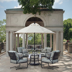 "Frontgate - Paris 36"" Square Euro Table, Patio Furniture - Crafted from hand forged wrought iron. Ultra UV resistant Ebony finish. Timeless lattice design. Electro-galvanized iron treatment provides weather resistance. Tables require some assembly. From the Arc de Triomphe to the Eiffel Tower, the Paris Round Dining Table is a blend of boldness and stately sophistication. Paris strikes a curvaceous pose in classic wrought iron, boasting a transitional statement of timelessness. The seat and back pattern is formed by stamped steel that is electro-galvanized, then powder coated in an ultra UV resistant finish.. . . . ."