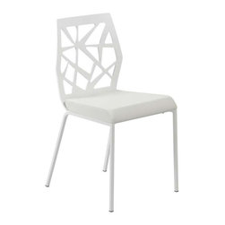 "Eurostyle - Eurostyle Sophia Leatherette Side Chair in White & Chrome [Set of 2] - Leatherette Side Chair in White & Chrome belongs to Sophia Collection by Eurostyle This chair, the Sybil Side Chair Set of 2, has every design aspect you crave. A chromed steel frame? Check! A comfortably padded leatherette seat? Check. A decorative laser cut MDF wood back? Check! Best of all, these Sophia Side Chairs come as a set of two. The seat height is 18.7"", and each chair can support up to 250 pounds. Assembly level/degree of difficulty: Easy. In the event of a return this item is subject to a restocking fee. Side Chair (2)"
