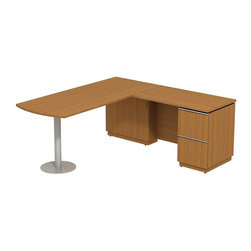 """Bush - Bush Milano 2 72"""" Right-Hand L-Shape Peninsula Desk in Golden Anigre - Bush - Computer Desks - MI2027RGA - Welcome to your new office. For doing your job well you've earned the freedom and means to express your personal taste. Milano 2 appeals to your practical side and looks good doing it. Stylish functional and accommodating the Bush Milano 2 Line Harvest Cherry or Golden Anigre 72""""W RH Peninsula L-Desk (F/F) fits any work space. The """"L"""" configuration fits most office footprints and offers ample room to spread out. offers a left-hand orientation for the peninsula with right-side desk pedestal and two file drawers. Drawers extend fully on ball-bearing slides providing unfettered access to letter- legal-or A4-size files. Gang lock concealed in knee well is out of sight for extra security. Polished extruded aluminum door and drawer pulls add a sophisticated design element. Back panel cutout for wire management conceals unsightly cords and cables. Pencil Drawer or Keyboard Shelf (optional) provides extra versatility. Durable rich Diamond Coat finish is long lasting stands up to scratches and stains and blends beautifully in executive suites. Contoured edge banding helps minimize nicks dents or other collision impacts. Includes Bush limited Lifetime warranty."""