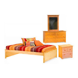 Concord Flat Panel Footboard 4 PC Natural Maple Bedroom Set (Bed, NightsDresser - A touch of modern style in your bedroom will easily appear with the Concord Flat Panel Footboard 4 PC Natural Maple Bedroom Set (Bed, Nightstand, Dresser and Mirror), featuring a clean, simple style. This platform bedroom set is available in a variety of size and finish choices. Add under bed drawers for additional storage or a trundle for extra company.