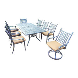 Oakland Living - 9-Pc Outdoor Rectangular Dining Set - Includes dining table, two swivel rocking, six fully welded stackable dining chairs with sunbrella cushions and metal hardware. Handcast. Artistic pattern work is crisp and stylish. Fade, chip and crack resistant. Umbrella hole table top. Hardened powder coat. Warranty: One year limited. Made from rust free aluminum. Aged color. Minimal assembly required. Stackable chair: 26.5 in. W x 26.5 in. D x 39 in. H (24 lbs.). Swivel rocking chair: 26 in. W x 26.5 in. D x 38.5 in. H (30 lbs.). Table: 84 in. L x 42 in. W x 29.5 in. H (97 lbs.). Overall weight: 340 lbs.This dining set is the prefect piece for any outdoor dinner setting. Just the right size for any backyard or patio. The Oakland Belmont Collection combines practical designs and modern style giving you a rich addition to any outdoor setting.