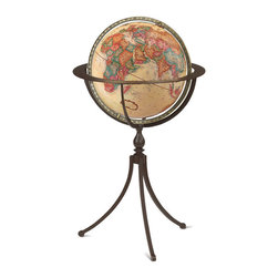 Replogle - Marin Floor World Globe - A contemporary interpretation of a classic design, the Marin world globe's floor stand is hand-crafted from wrought iron with a rustic textured finish.