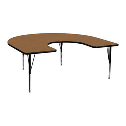 Flash Furniture - Flash Furniture 60 x 66 Horseshoe Activity Table w/ Oak Thermal Fused Laminate T - Flash Furniture's Pre-School XU-A6066-HRSE-OAK-T-P-GG warp resistant thermal fused laminate horseshoe activity table features a 1.125'' top and a thermal fused laminate work surface. This Horseshoe Shaped Laminate activity table provides a durable work surface that is versatile enough for everything from computers to projects or group lessons. Sturdy steel legs adjust from 16.125'' - 25.125'' high and have a brilliant chrome finish. The 1.125'' thick particle board top also incorporates a protective underside backing sheet to prevent moisture absorption and warping. T-mold edge banding provides a durable and attractive edging enhancement that is certain to withstand the rigors of any classroom environment. Glides prevent wobbling and will keep your work surface level. This model is featured in a beautiful Oak finish that will enhance the beauty of any school setting. [XU-A6066-HRSE-OAK-T-P-GG]  Office Table (1)