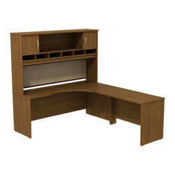 """BBF - BBF Series C 72W x 24D Right-Hand Corner Desk with Hutch - BBF-Commercial Grade Office-SRC002WOR-Plenty of room to spread out on this expansive L-Desk from BBF Series C. The 72"""" W Corner Module and 48"""" W Bridge create a large work surface that completes any office. With its durable thermally fused laminate work surface the L-Desk work surface resists scratches and stains to retain its good looks and clean lines while the wire management system aids in keeping cords out of site with desktop grommets and wire channels. The 72"""" W 2-Door Hutch adds extra storage and organizational space with a fabric covered tack board the length of the hutch for visual organizers and six open Work-in-Progress trays. The large open center storage of the Hutch is complimented by two covered storage compartments using Euro-style self-Closing hinges for a soft close and lasting convenience. With a finish to match any decor additional BBF Series C pieces allow for additional configurations as your needs evolve and grow. Solid construction meets ANSI/BIFMA test standards in place at time of manufacture; this product is American Made and is backed by BBF 10-Year warranty."""