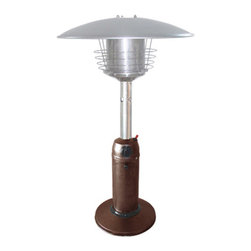 AZ Patio Heaters - Portable Patio Heater - Bronze Hammered - 38in. tall portable hammered bronze patio heater. 11,000 BTU's adjustable control. Weight plate for added stability, burner screen guard, thermocouple and anti-tilt safety devices. Uses a 1lb propane tank (not included).