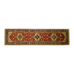 Manhattan Rugs - New Heriz Rust With Navy Blue Border Hand Knotted Wool 3'x10' Serapi Rug H5154 - Heriz (Herez, Serapi)