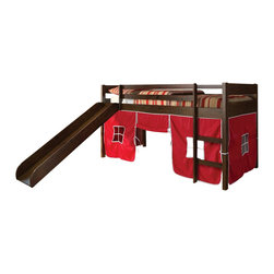 "Acme - Wasila Collection Espresso Finish Wood Kids Loft Bed - Wasila collection espresso finish wood kids loft bed with slide and red or blue tent covering bottom curtains. This set includes the loft bed set with slide and your choice of Blue or red Tent curtain covering. Made in Brazil. Measures 78"" x 43"" x 43""H. Some assembly required."