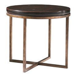 Sherrill Occasional - Sherrill Occasional Round Lamp Table 322-930 - The right scale to match up on either side of a sofa or to join your favorite arm chairs.Bronze textured metal base.