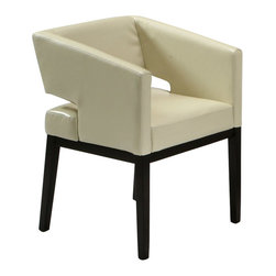 Armen Living - Armen Living Apollo Club Chair in Cream - Armen Living - Club Chairs - LC312ARCR - with very much a furniture-as-art designation the Apollo Club Chair is an expressive addition for the modern decor themed living space. Full-height and angle cut arms suspend a back panel separate from the seat for a visually distinctive appearance one that is furthered by the Apollo's hardwood base and leg structure in a dark mahogany contrasting with the cream bycast leather finish of the seat. The Apollo Club Chair has an undeniably eye-catching appeal to it.