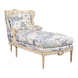 Kathy Kuo Home - Bayonne French Country Blue Geisha Upholstered Chaise Lounge - Old World grace meets New World luxury in a custom-upholstered lounge chair. Hand-carved details highlight the elegant wood framework, available in a variety of finishes. Make this French Country masterpiece your own with custom fabric and pillow for a truly unique chaise. Made to order in the USA; please allow 6-12 weeks lead time to ship.