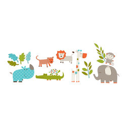 """WallPops - Lets Go On Safari Wall Decals - Bring a sense of adventure to your kids decor with these adorable safari wall decals! Super sweet in a nursery, child's playroom or bedroom, these kids jungle wall stickers include all the safari darlings, from an elephant to an alligator, and fun foliage accents.  This wall art kit contains 24 pieces on four 9.75"""" x 17.25"""" sheets. WallPops are repositionable and always removable."""
