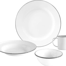 Crow Canyon Home - Dinnerware Set, 16-Piece, White and Grey Rim - Four table settings of our most popular enamelware items: dinner plate, salad plate, bowl, and mug.