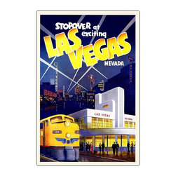 "Trademark Art - ""Las Vegas"" - Giclee Repoduction Canvas Wall - Clever retro styling makes this vintage style canvas wall art a unique piece to own.  Reminiscent of tourism posters from the days when train travel was exciting and glamorous, it's impeccably reproduced in brilliant color by the Giclee printing method.  A brilliant yellow passenger train is highlighted by the stunning neon skyline of Las Vegas in its early days.  What a great gift for anyone who loves Sin City. Gallery wrapped Giclee on canvas. Ready to hang. Traditional style. Subject: Vintage. Format: Vertical. Size: Large. Canvas material. 24 in. W x 32 in. H (5 lbs.)Giclee is an advanced printmaking process for creating high quality fine art reproductions. The attainable excellence that Giclee printmaking affords makes the reproduction virtually indistinguishable from the original artwork. The result is wide acceptance of Giclees by galleries, museums and private collectors."