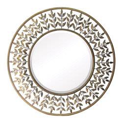 Sterling Industries - Sterling Industries Willow Brook Round Mirror X-112-55 - From the Willow Brook Collection, this Sterling Industries round mirror features a beautiful leaf pattern that hints at mid-century styling. The open styling of the frame allows it to more easily compliment your decor, allowing your chosen paint color to shine through and accentuate each leaf and every berry.
