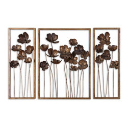 Metal Flowers Dimensional Wall Art Set of 3 - *This set of decorative wall art is made of hand forged metal finished in antiqued gold leaf with a charcoal gray wash. Sizes: Sm-10x27x4, Lg-20x27x4