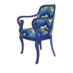 """Pre-owned Retro Wooden Darby Armchair - Make a pop art statement with your home decor with these ultra fab retro inspired wooden armchairs. Truly unique!   Vintage solid wood and painted a cobalt blue. Detailed wood carving on the arms and legs of the chairs. Upholstered in vintage fabric from the 1970s - a heavy weight cotton canvas.    Arm Height: 29""""  Seat Height: 19.5""""    Interested in a pair? We have 2 available. Please contact support to purchase the lot!"""