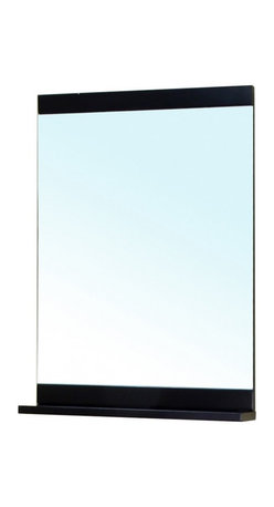 """Bellaterra Home - Rectangular Solid Wood Black Frame Mirror - Solid wood frame with  mirror, shelf on the bottom of the mirror add extra shelf space. Frame Dimensions: 29.5""""W X 33.4""""H X 5.2""""D; Finish: Black; Material: Birch ; Beveled: No; Shape: Rectangular; Weight: 26.1; Included: Brackets, Ready to Hang"""