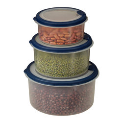 Cookpro - 6-piece Plastic Container Set with Round Lids - Go ahead. You can vent about your current plastic containers that buckle every time you put them in the microwave. Here's a great new set that will help you let off some steam. This six piece, nesting storage set is made of food-grade plastic and comes with venting lids to keep your smiles high and your pressure low.