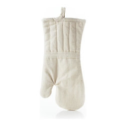 Organic Cotton Oven Mitt - Protect your hands while cooking delicious meals with a natural cream color mitt that will fit any kitchen decor.