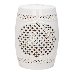 Safavieh - Quatrefoil Garden Stool - Heraldry reigns in the Quatrefoil Garden Stool with a cluster of tiny four-leaf cut-outs creating a strong but simple central motif that will complement myriad decorating styles. Use this cream glazed ceramic accent piece indoors or out as an extra seat, a side table of plant stand.