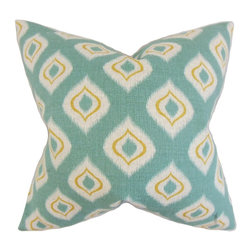 """The Pillow Collection - Dai Ikat Pillow, Aqua 18"""" x 18"""" - There is nothing exciting that decorating your home with a new pillow collection."""