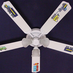 Ceiling Fan Designers - Ceiling Fan Designers Tonka Trucks Indoor Ceiling Fan - 42FAN-KIDS-KTT - Shop for Ceiling Fans and Components from Hayneedle.com! He's going to love the Ceiling Fan Designers Tonka Trucks Indoor Ceiling Fan. This ceiling fan is a cute and quality way to light and cool his room. It's a ceiling fan and light kit combo that comes in your choice of size: 42-inch with 4 blades or 52-inch with 5. The blades are reversible so it has the colorful Tonka Truck design on one side and basic white on the other. It grows with him! A powerful yet quiet 120-volt 3-speed motor and easy switch offers year-round comfort. The 42-inch fan includes a schoolhouse-style white glass shade and requires one 60-watt candelabra bulb (not included). The 52-inch fan has three alabaster glass shades and requires three 60-watt candelabra bulbs (included). Your ceiling fan includes a 15- to 30-year manufacturer's warranty (based on size). He is going to love this decorative touch. It is not an officially licensed product. Licensed products were used as decorations.