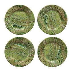 """Juliska - Juliska Green Marbleized Cocktail Plate Set of 4 - From the Firenze Collection - classic Italian marbling whisks you away to the Tuscan hillside for a fireside dinner 'per due'. Unique Green Marbelization. Hand Wash Only Please. Dimensions: 7"""" W. Handmade in Portugal. Gift Boxed Set/4"""