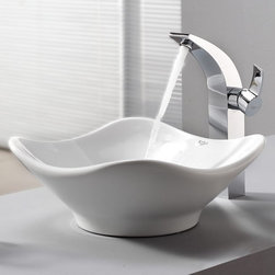 Kraus - Kraus White Tulip Ceramic Sink and Illusio Faucet - Add a touch of elegance to your bathroom with a ceramic sink combo from Kraus.